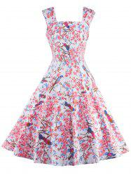 Sleeveless Floral Print Cocktail Dress - PINK 2XL