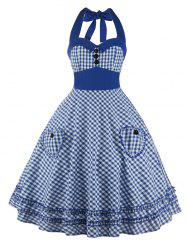 Halter Checkered Pocket Vintage Dress
