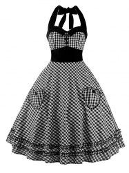 A Line Pocket Halter Checkered Pocket Vintage Dress - BLACK 2XL