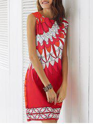 Chic Round Neck Sleeveless Ornate Printed Women's Dress - RED XL
