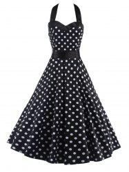 Halter Open Back Polka Dot Cocktail Dress - WHITE AND BLACK