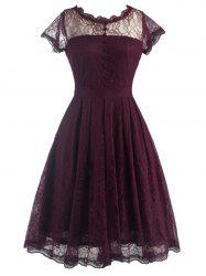 Funky Short Wedding A Line Dress With Sleeves - WINE RED