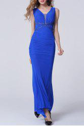 Backless Ruched Floor Length Formal Prom Dress