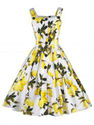 Vintage Lemon Print Button Up Flare Dress - WHITE