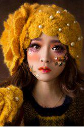 Faux Pearl Beaded Petal Hat - GINGER