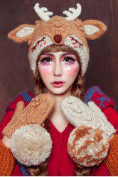 3D Ear and Antler Knitted Hat
