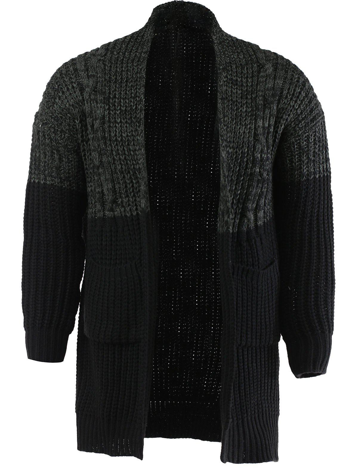 Latest Color Spliced Collarless Long Sleeve Cardigan For Men