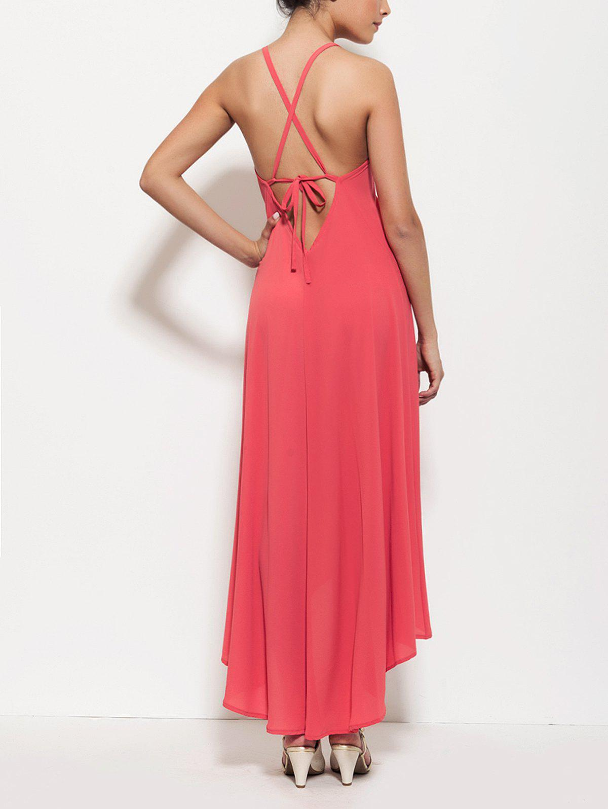 Rose Red Spaghetti Strap High Low Lace Up Backless Maxi