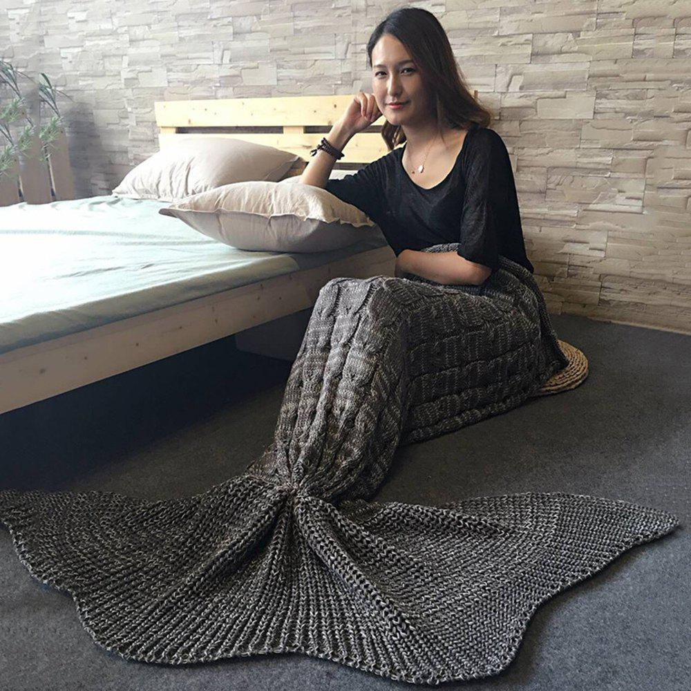 Unique Knitted Braid Mermaid Tail Style Blanket For Adult