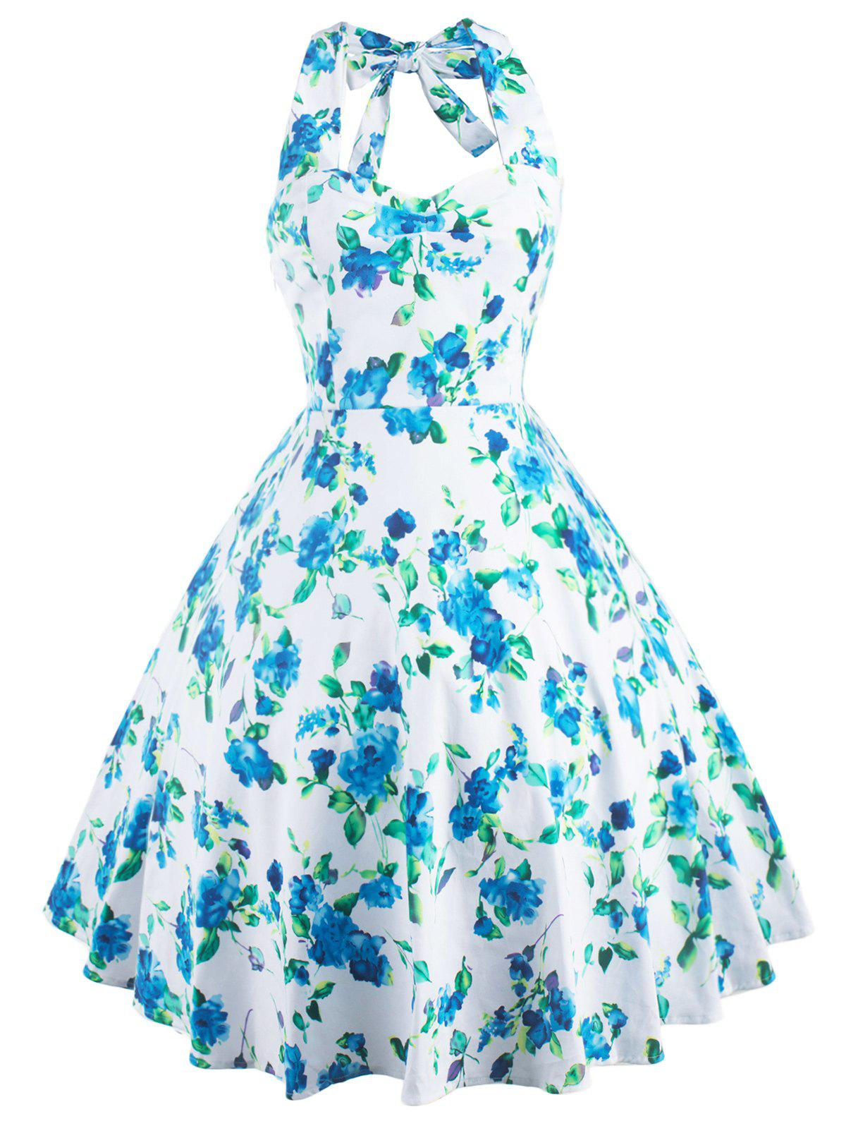 Sale Vintage Halter Neck Floral Print Party Cocktail Print Dress