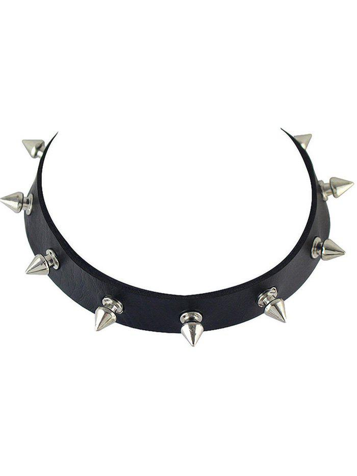 Online Faux Leather Rivet Choker Necklace