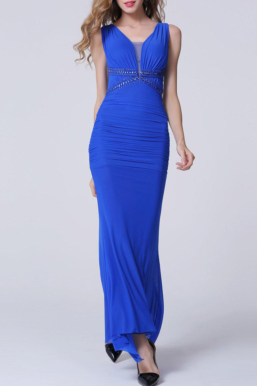 Outfit Backless Maxi Ruched Formal Slim Prom Dress