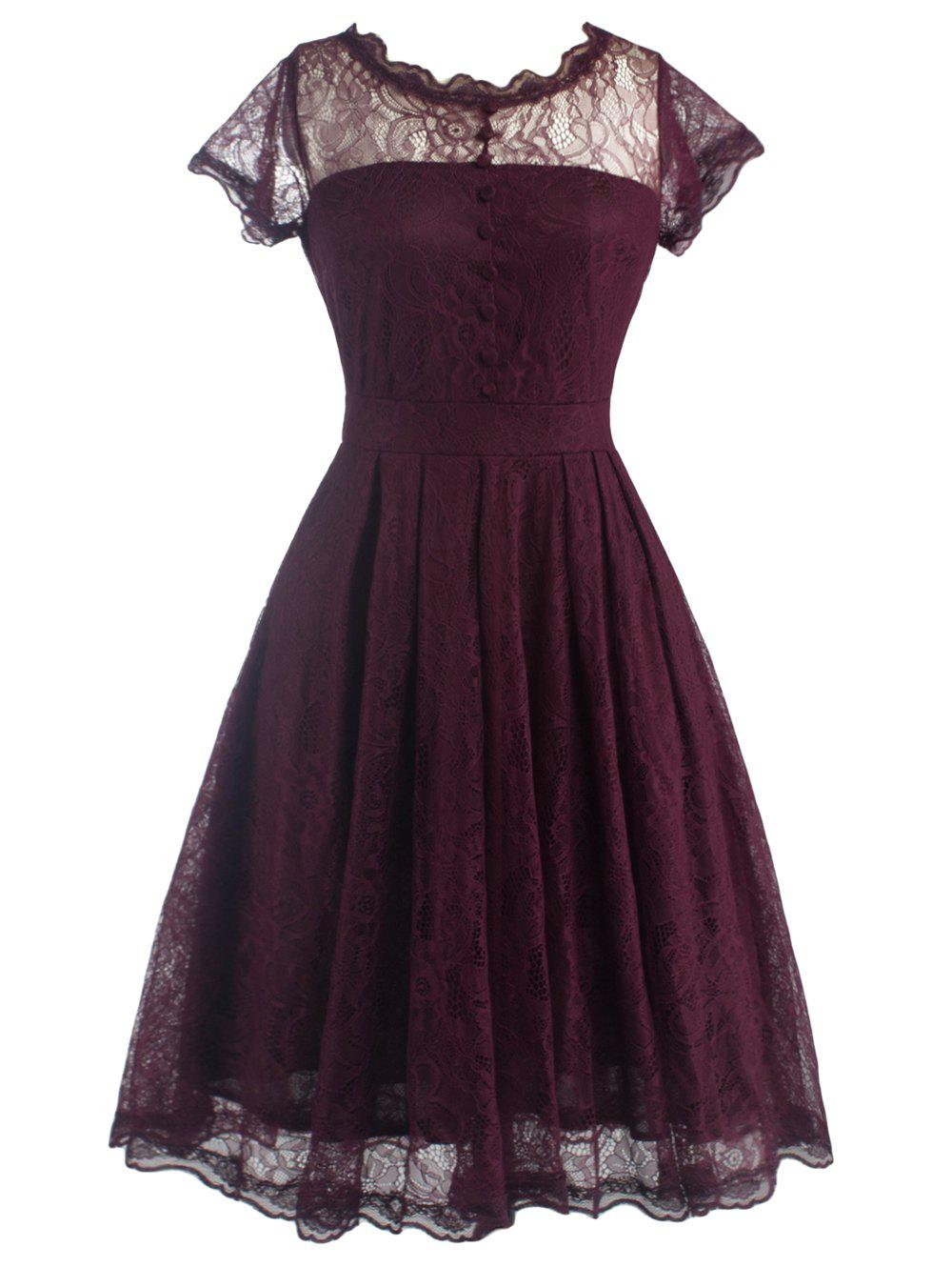 Funky Short Wedding A Line Dress With SleevesWOMEN<br><br>Size: M; Color: WINE RED; Style: Vintage; Material: Cotton Blend,Lace,Polyester; Silhouette: A-Line; Dresses Length: Knee-Length; Neckline: Ruffled; Sleeve Length: Short Sleeves; Embellishment: Button; Pattern Type: Solid; With Belt: No; Season: Summer; Weight: 0.275kg; Package Contents: 1 x Dress;
