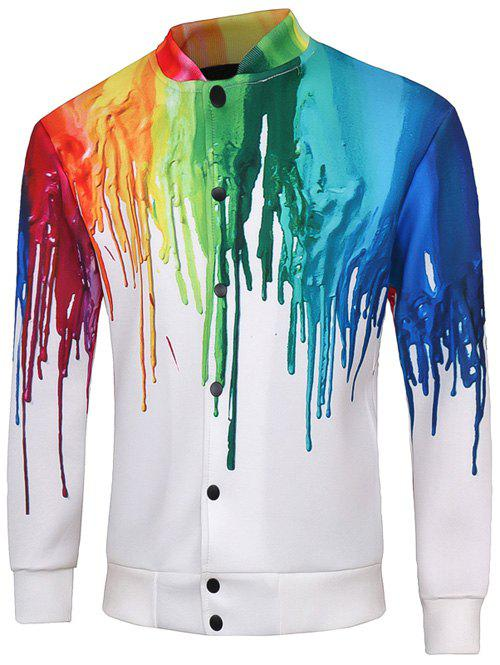 Chic Snap Button Up Multicolor Print Long Sleeve Jacket For Men
