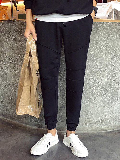 Outfit Plus Size Lace-Up Beam Feet Spliced Design Jogger Pants For Men