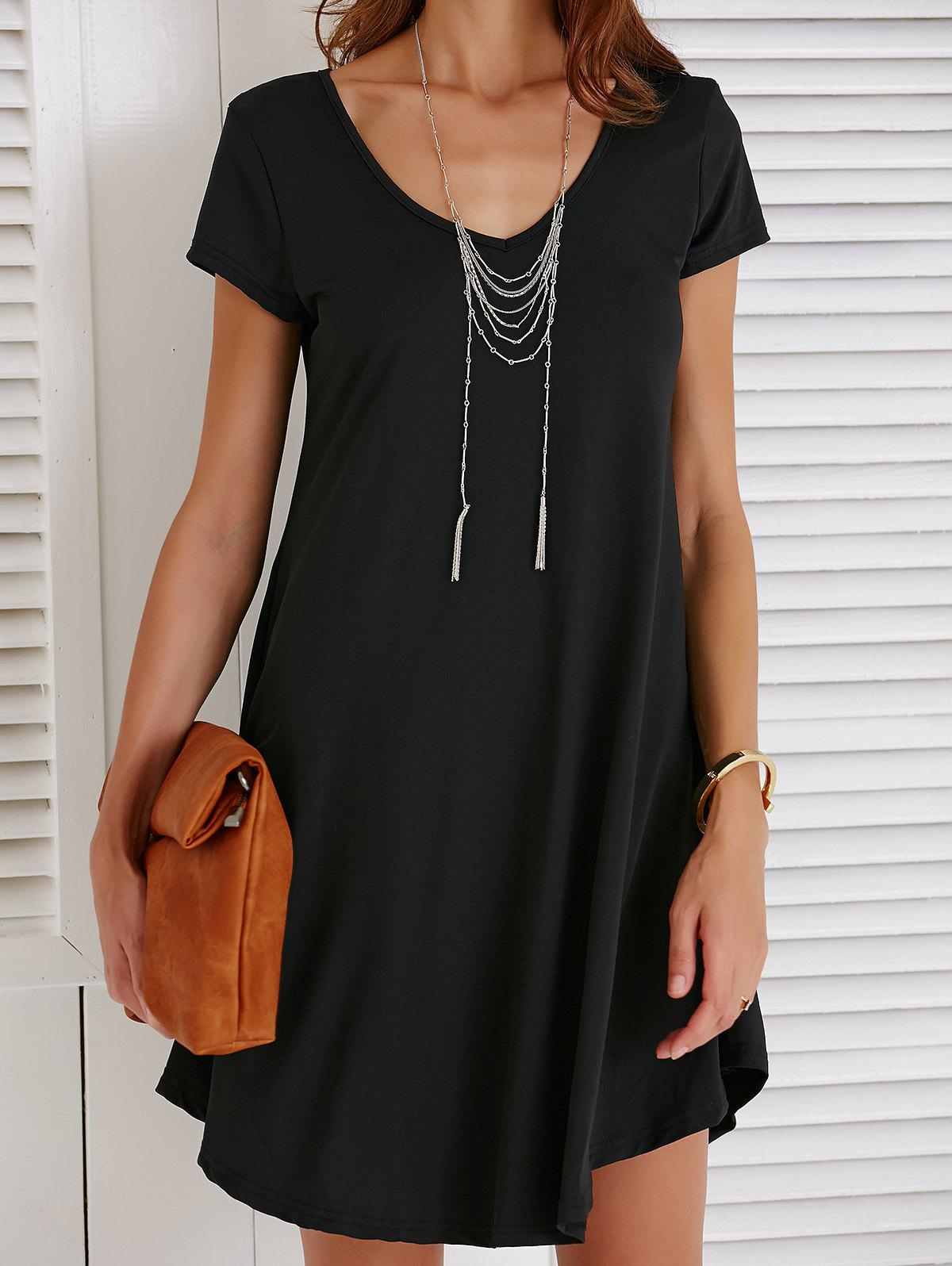 Sale V Neck Short Sleeve T-shirt Shift Dress