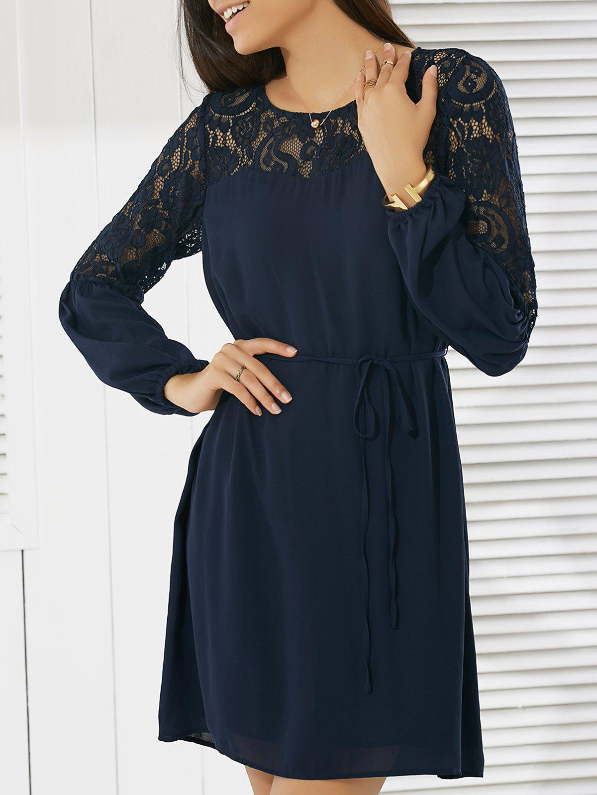 Chic Casual Round Neck Long Sleeve Lace Dress
