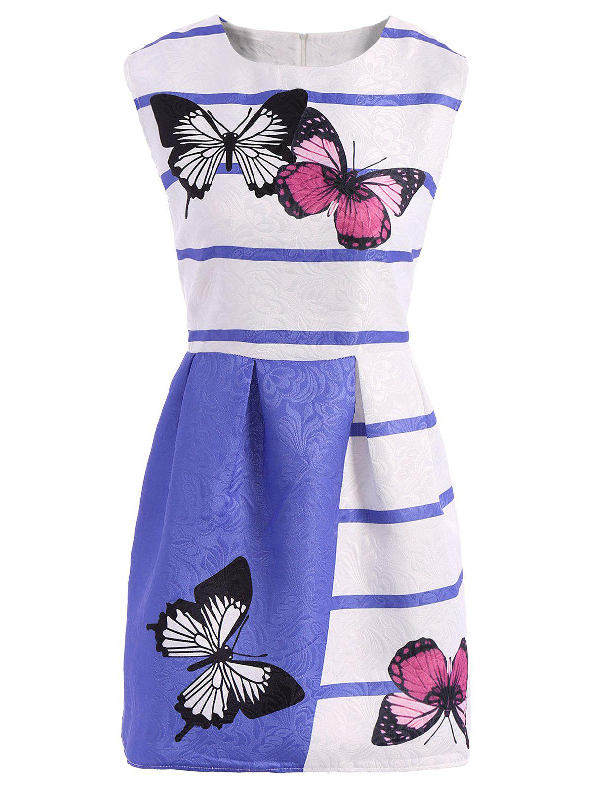 Store Sweet Girl Style Butterfly Print Color Block Scoop Neck Sleeveless Dress For Women