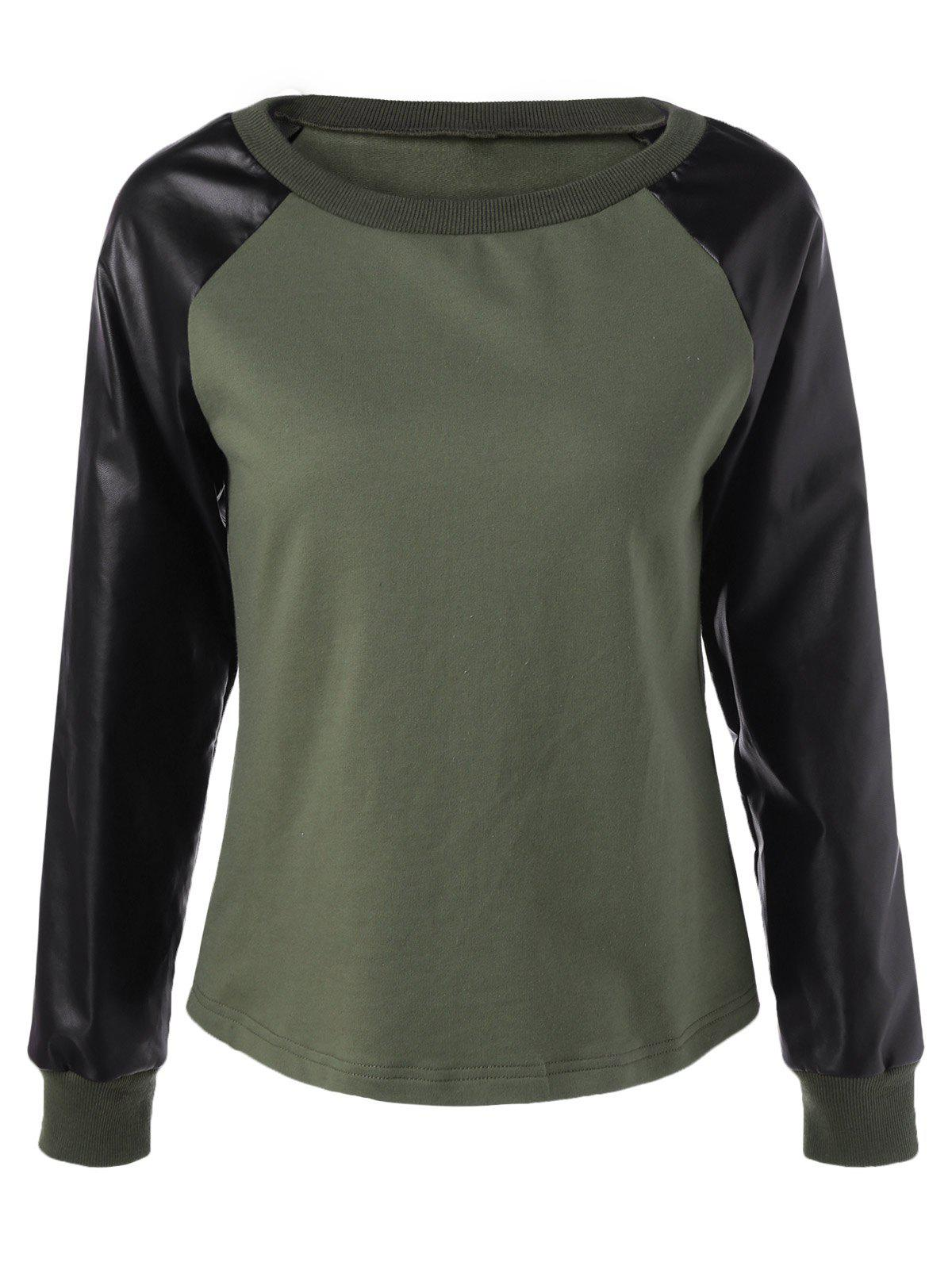 Chic Raglan Sleeve PU Patchwork SweatshirtWOMEN<br><br>Size: S; Color: ARMY GREEN; Material: Polyester; Shirt Length: Short; Sleeve Length: Full; Style: Fashion; Pattern Style: Patchwork; Season: Fall,Spring; Weight: 0.2700kg; Package Contents: 1 x Sweatshirt;