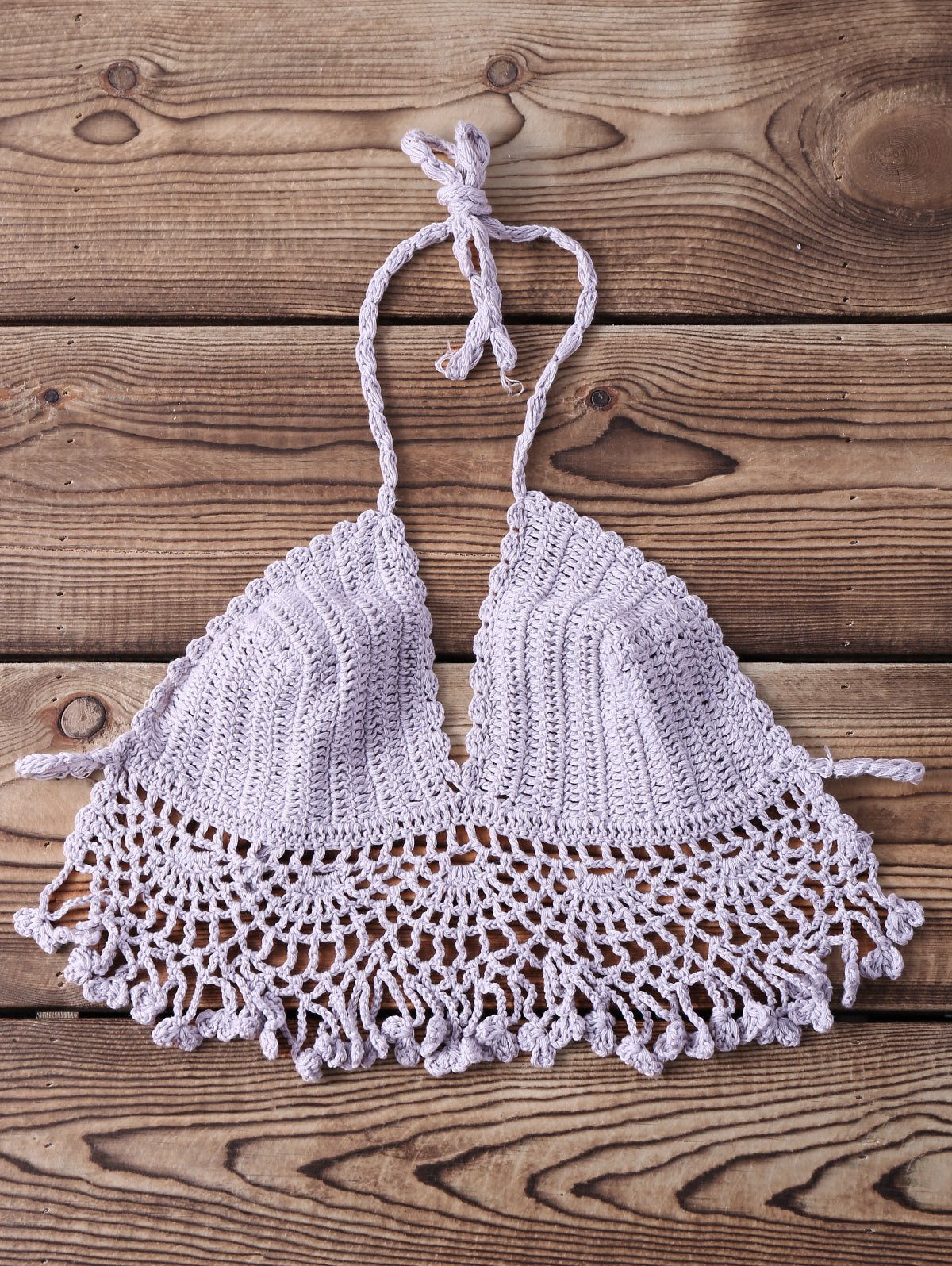 Cheap Sexy Halter Sleeveless Solid Color Fringed Knitted Women's Bra