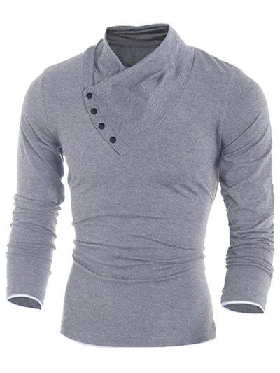 Side Button Surplice Long Sleeve T-Shirt For MenMEN<br><br>Size: 2XL; Color: LIGHT GRAY; Material: Cotton Blends; Sleeve Length: Full; Collar: Stand Collar; Style: Fashion; Embellishment: Button; Pattern Type: Solid; Season: Fall,Spring; Weight: 0.2730kg; Package Contents: 1 x T-Shirt;