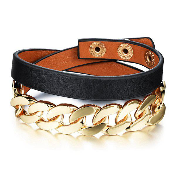 Latest Stylish Faux Leather Chainsaw Layered Strand Bracelet For Women