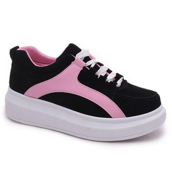 Latest Preppy Colour Splicing and Suede Design Athletic Shoes For Women