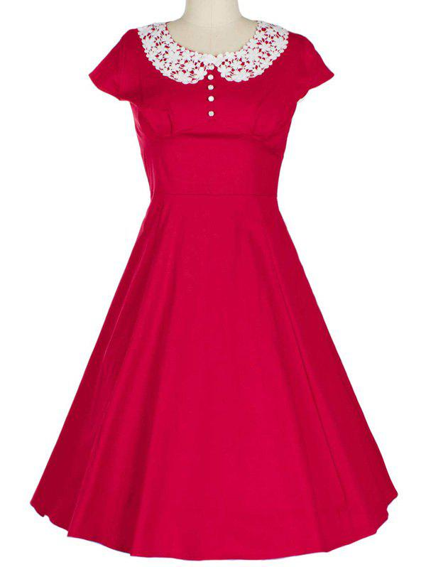 Online Retro Lace Spliced Faux Collar Fit and  Flare Dress