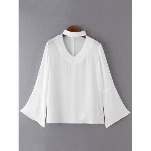 Brief Women's Flare Sleeves Pure Color Blouse