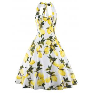 Tea Length Halter Neck Lemon Print Vintage Dress