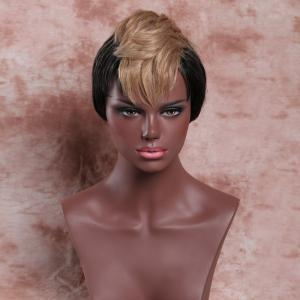Short Fluffy Full Bang Light Brown Mixed Black Women's Charming Synthetic Wig