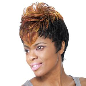 Short Fluffy Full Bang Mixed Color Women's Charming Synthetic Wig