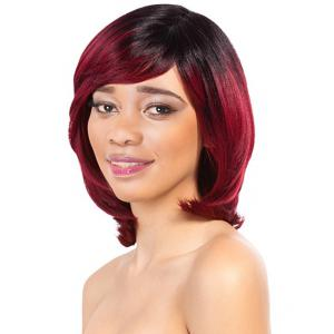 Charming Wine Red Mixed Black Short Straight Side Bang Women's Synthetic Wig - Colormix - 14inch