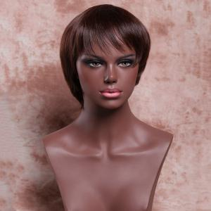 Women's Ladylike Deep Brown Short Straight Side Bang Synthetic Wig