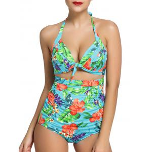 Tropical Print Ruched High Waisted Bikini Set