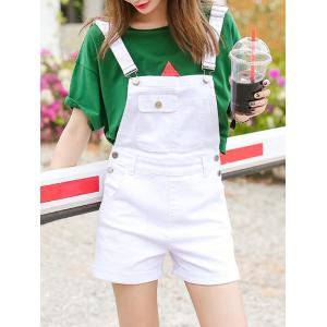 Front Pocket Pure Color Overalls Shorts