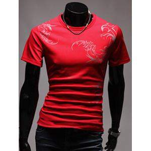 Tattoo Style Chinoiserie Printed Round Neck Short Sleeve T-Shirt For Men