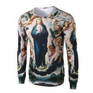 Ave Maria Print Round Collar Long Sleeve Tee For Men