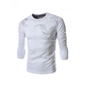 Tattoo Style Chinoiserie Print Round Neck Long Sleeve T-Shirt For Men