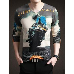 Stylish Moto Print V-Neck Long Sleeve Tee For Men - Colormix - Xl