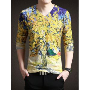 Trendy Painting Print V-Neck Long Sleeve Tee For Men