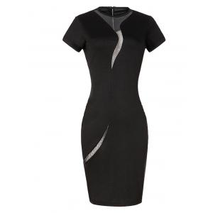 Short Sleeve Mesh Inset Bodycon Dress