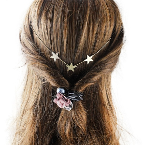 Graceful Gold Plated Pure Cololr Star Charm Hairband For Women