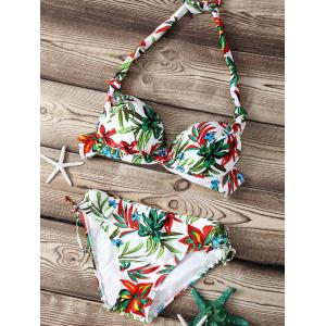 Refreshing Floral Print Push Up Women's Bikini Set