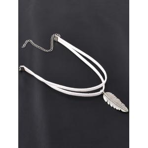 Chic Alloy Feather Choker - White - L