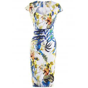 Fashionable Floral Print Skinny Slimming Women's Dress - Colormix - S