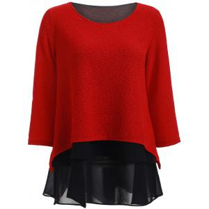 Stylish 3/4 Sleeve Splicing Women's Blouse