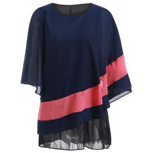 Color Block Batwing Sleeve Flowy Blouse