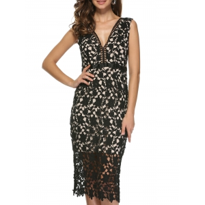 Lace Bodycon Midi Tank Dress