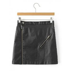 Faux Lether Zip Mini Skirt - Black - S